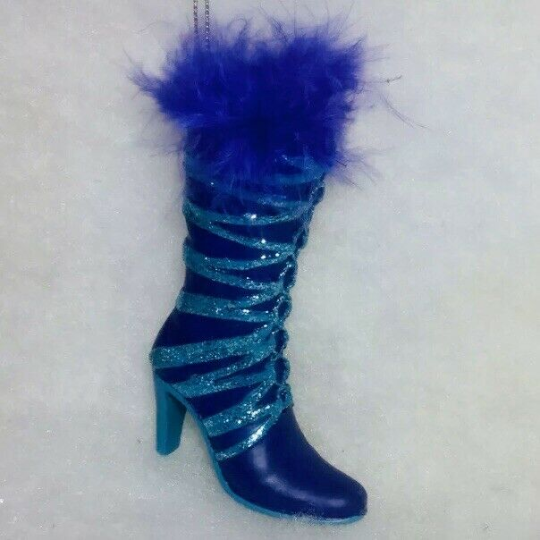 Purple Boot Christmas Tree Ornament Fashion High heel Lace Up
