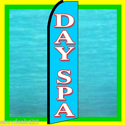 Day Spa 3 Wide Swooper Flag Advertising Sign Feather Flutter Bow Banner
