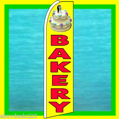 BAKERY w/ CAKE SWOOPER FLAG Advertising Sign Feather Flutter Bow Banner