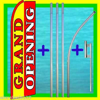 Grand Opening Swooper Flag 15 Tall Pole Mount Feather Flutter Bow Banner