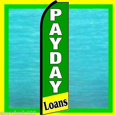Payday Loans 3 Wide Swooper Flag Advertising Sign Feather Flutter Bow Banner