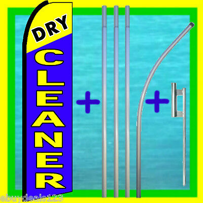 Dry Cleaner Blue Swooper Flag 15 Tall Pole Mount Feather Flutter Bow Banner