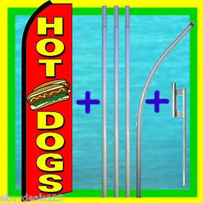Hot Dogs Swooper Flag 15 Tall Pole Mount Feather Flutter Bow Banner