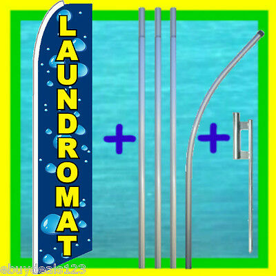 Laundromat Feather Flag 15 Tall Pole Mount Swooper Bow Flutter Banner