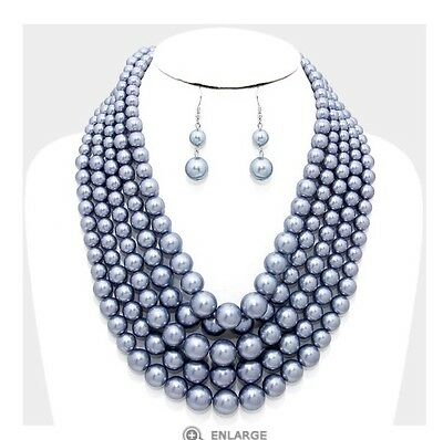 - Chunky Silver Gray Pearl Long Bib Multi Layered Strand Bead Necklace Set