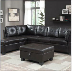 BRAND NEW sectional with reversible chaise and ottoman