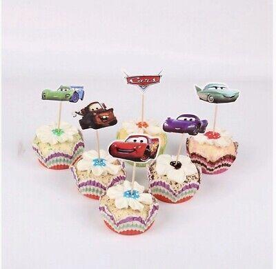 24 Kuchenstecker Topper Cars Auto McQueen Cupcake Geburtstag Muffins Autos