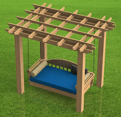 Hanging Patio Bed with Pergola Woodworking DIY Plans - Build it Yourself ()
