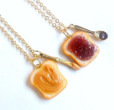 Peanut Butter Jelly Necklace Set, Best Friend's BFF Necklaces, Gold Plated :) ()
