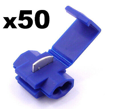 50x Blue Snap-Lock ScotchLok Electrical Wire / Cable Splice and Feed Connectors