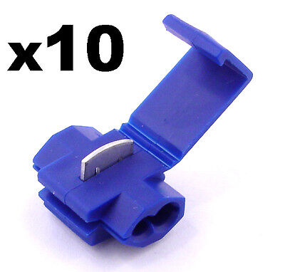 10x Blue Snap-Lock ScotchLok Electrical Wire / Cable Splice and Feed Connectors