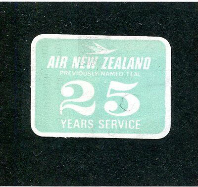 Vintage Airline Label Air New Zealand 25 Years Service Previously Teal Airlines