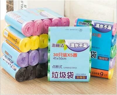 5 Rolls Trash Can Liner Bag Home Office Colored Disposable Kitchen Waste Trash ()
