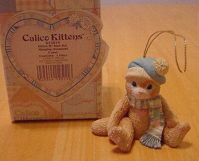 Calico Kittens Cat in Blue Hat Christmas Hanging Ornament 1993 623814
