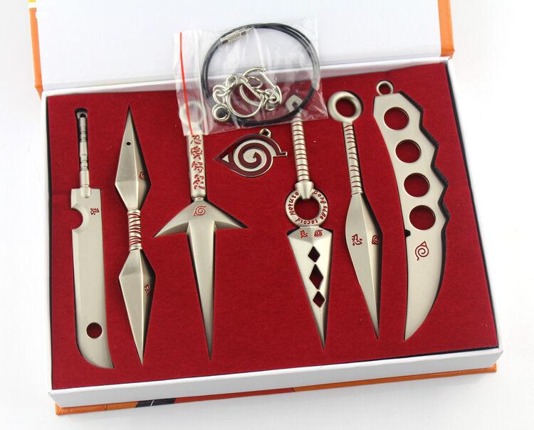 Naruto Asuma Yondaime Ryujinki Cosplay Kunai Key Chain Necklace Set of 7 Gift