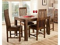 Selling beautiful dark stained wooden Goa dining table and 4x chairs
