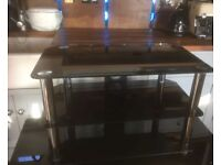 Black glass with Crome Tv stand