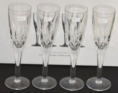 Royal Doulton Crystal Highclere Cut ~ Set Of Four Champagne Flute Glasses ~ New