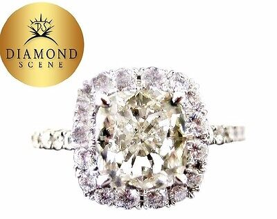 GIA CERTIFIED H COLOR SI1 CLARITY GRADE CUSHION SHAPE DIAMOND ENGAGEMENT RING