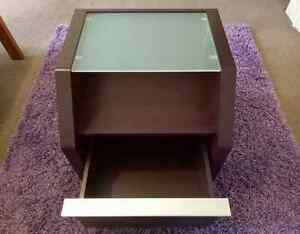 WOODEN BED SIDE TABLE WITH GLASS TOP AND DRAW South Yarra Stonnington Area Preview