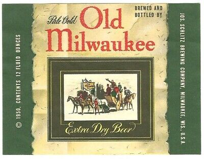 Non- IRTP Old Milwaukee Pale Gold Beer label Wisconsin, 1950