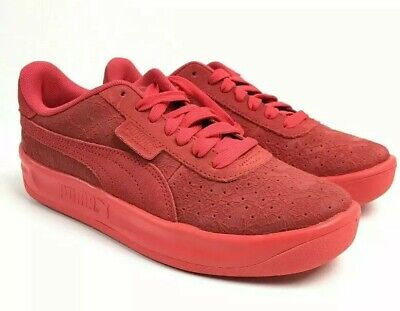 New Puma Womens Sz 7 Red Embossed Floral Hibiscus Sneakers Shoes 37024601