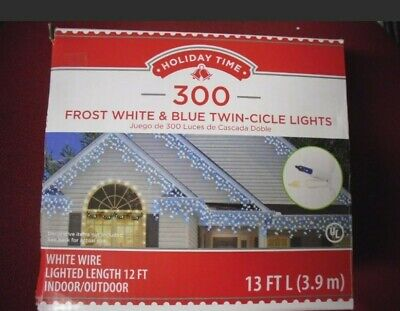 New 300PK Frost White & Blue Twin-Cicle Lights 13 FT L White Wire Indoor Outdoor