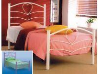Girls pink metal heart single bed frame