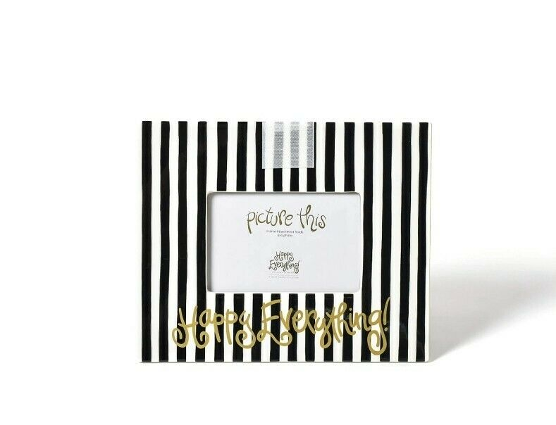 Coton Colors White Black Striped Gold Happy Everything Picture Frame 4 X 6 READ