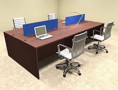 Four Person Modern Blue Divider Office Workstation Desk Set Ot-sul-fpb6