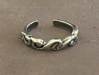 Waves toe ring genuine .925 sterling silver