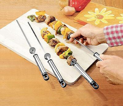 12 x Grillspieße 43 cm Spieße Edelstahl mit Abstreifer Grill Spieß Fleischspieße