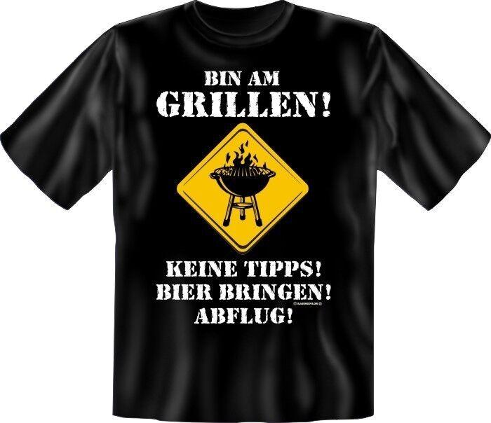 Lustige Herren Grill T-Shirts - Bin am Grillen - Fun-Shirts Geburtstag Geschenk