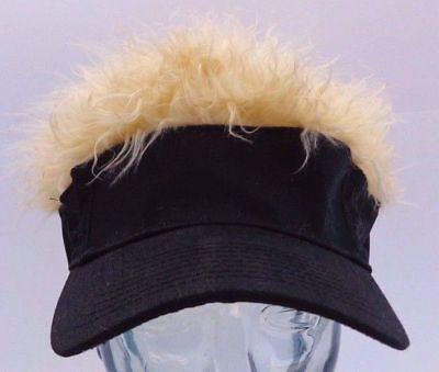 BRAND NEW! Hair Hat! Black Hat wIth WILD Blond Hair! Cap Visor NEW! Flair! (Visor Hair)