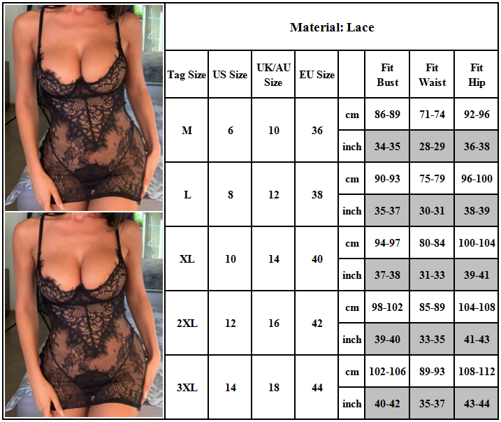 Women Sheer Lace Sexy Lingerie Babydoll See Through Dress Nightwear Sleepwear Clothing, Shoes & Accessories