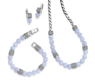 - NWT Brighton MERIDIAN Blue Agate Necklace Bracelet Earrings SET MSRP $240