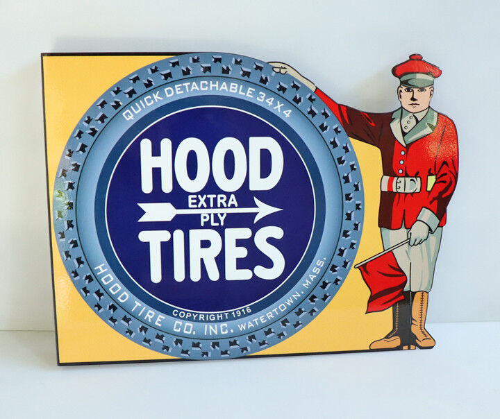 HOOD TIRES Flange Sign with Man  Auto Car Racing  gas oil Modern Retro