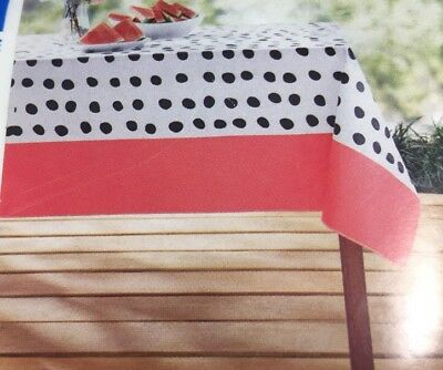 Polka Dot Vinyl Tablecloth Black White & Coral 52 X 70
