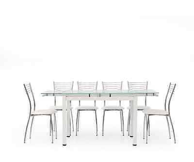 Tavolo da pranzo piano in vetro moderno 608 allungabile 110x70x76