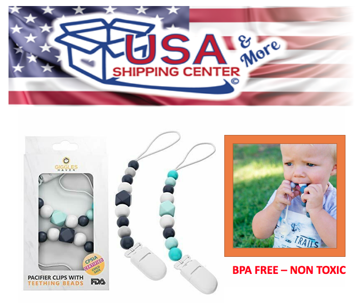 Pacifier Clip - 2 Pack Set - Teething Baby Silicone Beads Te