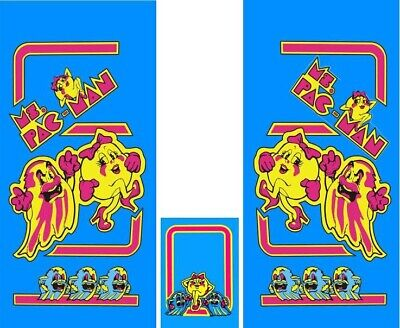 Ms pac man side art and kickplate 3 Piece Set Laminated Ms Pacman Ms Pac-man