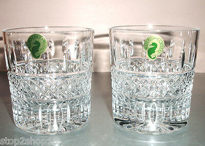 Waterford Irish Lace TUMBLER Double Old Fashioned Glasses SET/2 #149579 New
