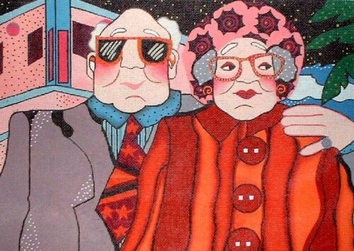 Elderly Couple Man Woman by Maggie HP Hand Painted Needlepoint Canvas GJ