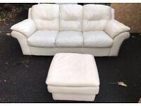 Genuine leather sofa and footstool
