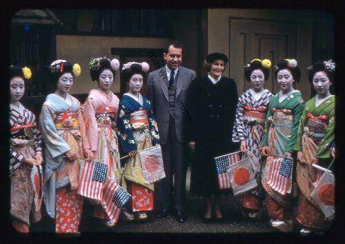 Original 1955 35mm Kodak Slide Pat and Richard Nixon Japan Trip W/ Gishas
