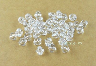 Clear Acrylic Bicone DIY Spacer Loose Beads 200Pcs 6mm