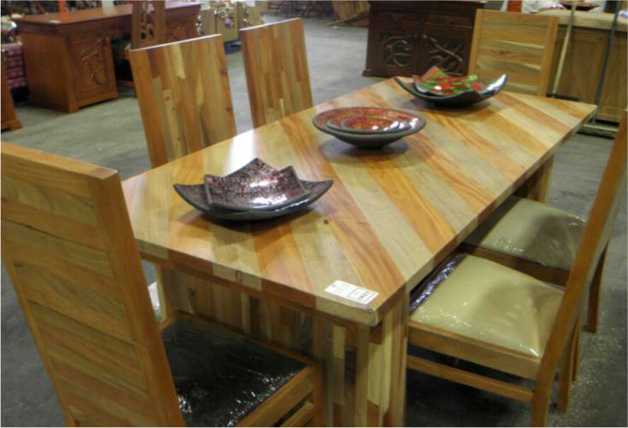 Solid mixed wood table & 6 chairs