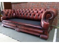 Fantastic Chesterfield Dellbrook 3 Seater Sofa Oxblood Leather - UK Delivery