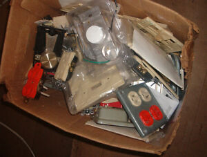 box of electrical switches face plates etc...$10.00 box