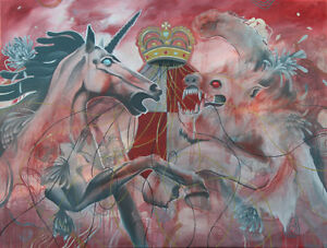 ***$100 Painting*** The Unicorn & the Lion, Alice in Wonderland